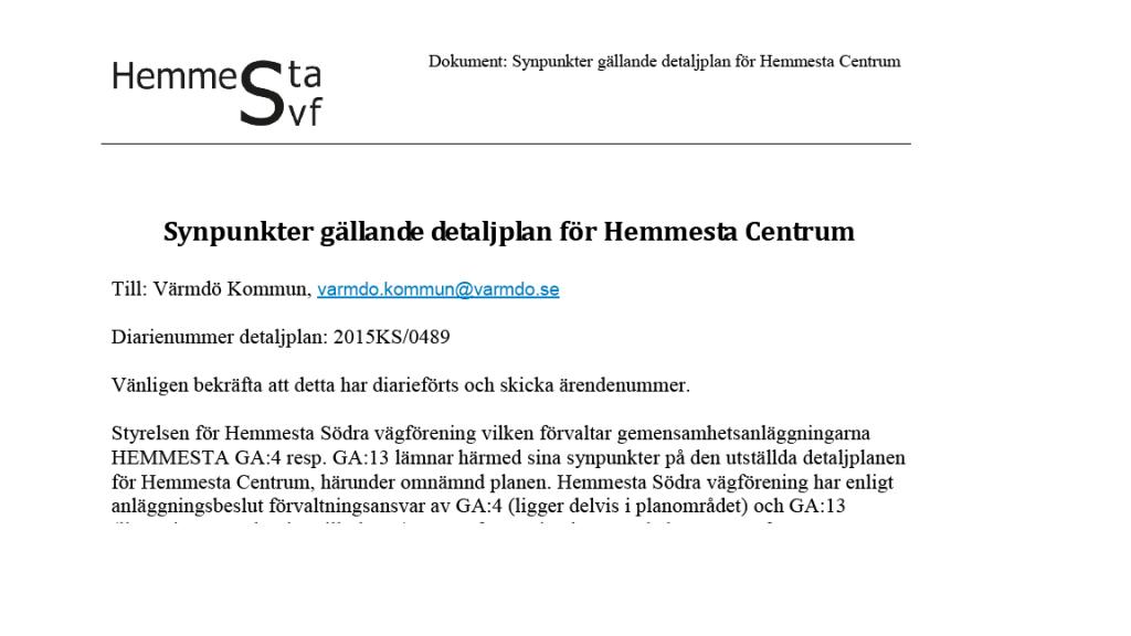 Synpunkter gällande detaljplan för Hemmesta Centrum